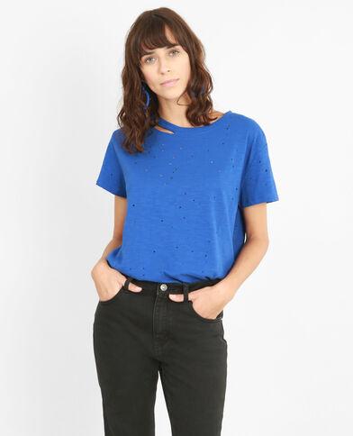 T-shirt met destroyed effect elektrisch blauw