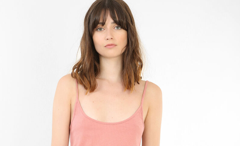Cropped top côtelé rose