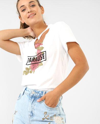 T-Shirt mit Choker-Kragen Weiß