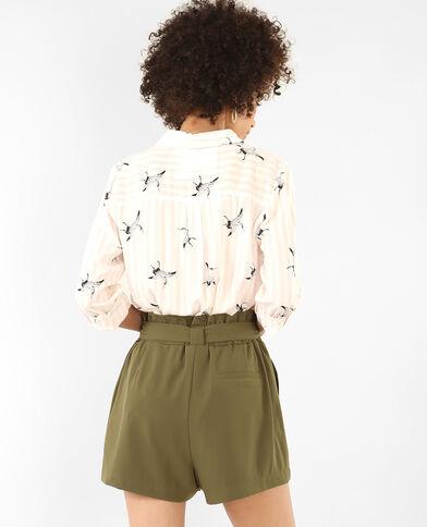 Gestreept hemd met motief bleekroze