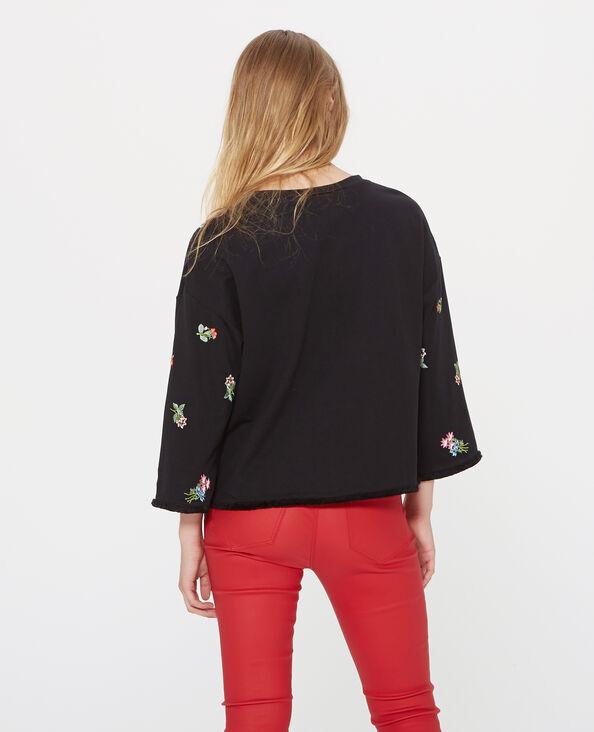 Bestickter Sweater Schwarz