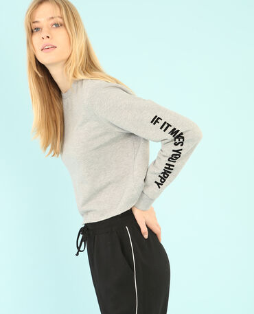 Cropped-Sweatshirt mit Schriftzug auf den Ärmeln Grau