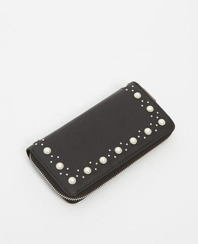 Portafoglio con perle nero