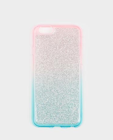 Coque compatible iPhone glitter bleu