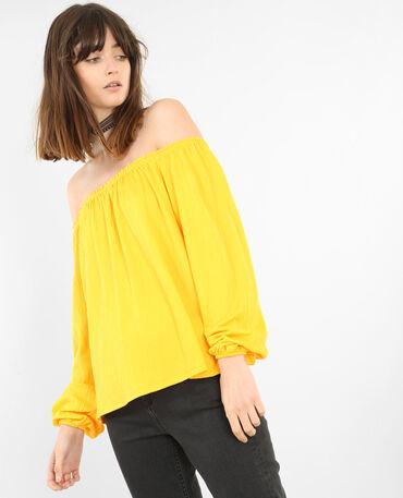 Bluse mit Bardot-Ausschnitt Gelb