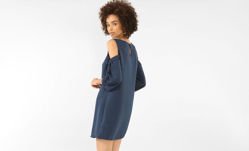 Soepelvallende jurk met peekaboomouwen marineblauw