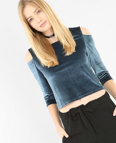 Camiseta de terciopelo azulón