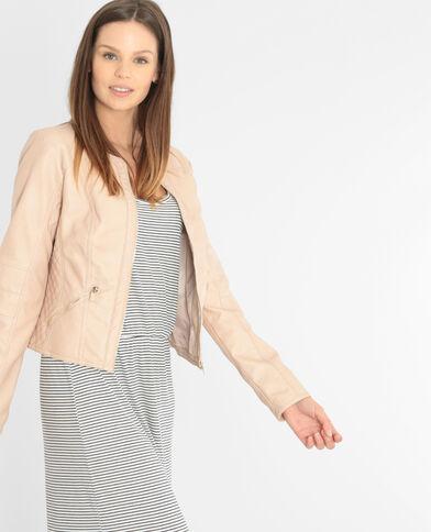 Jacke aus Kunstleder ohne Kragen Altrosa
