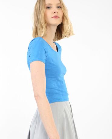T-shirt cropped côtelé bleu