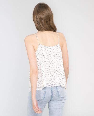 Camiseta de tirantes finos estampada marfil