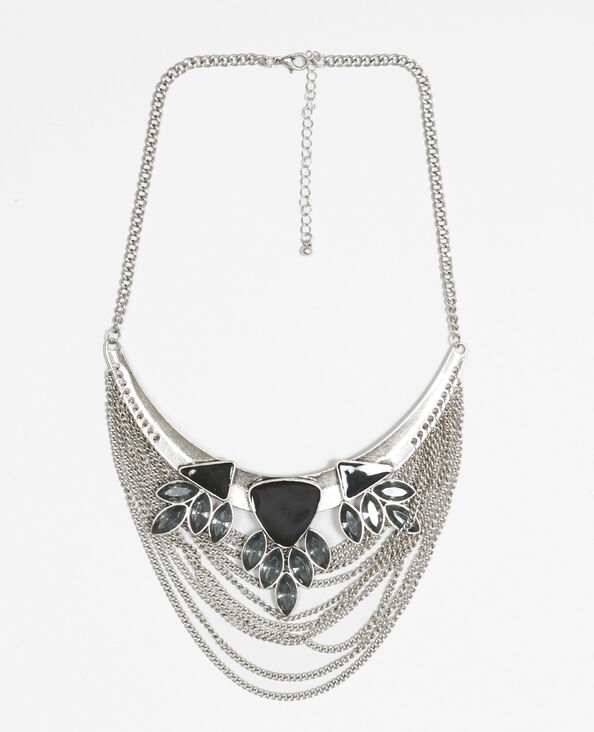 Collar media luna gris brillante