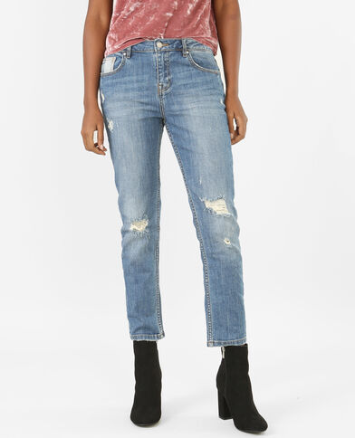 Destroyed relaxed jeans met hoge taille denimblauw