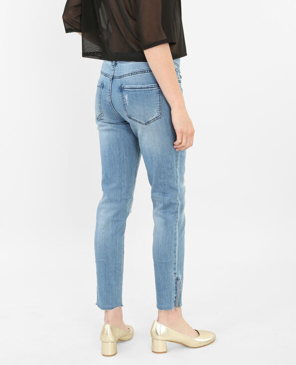 Skinny destroyed jeans blauw