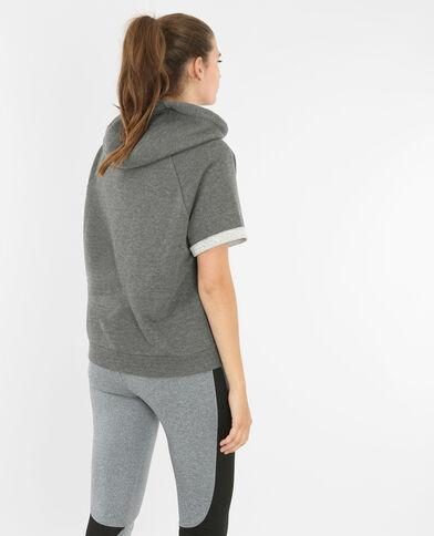 Running Cropped-Sweatshirt mit Kapuze Anthrazitgrau