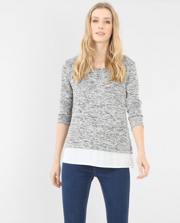 Melierter Pullover aus Materialmix Grau