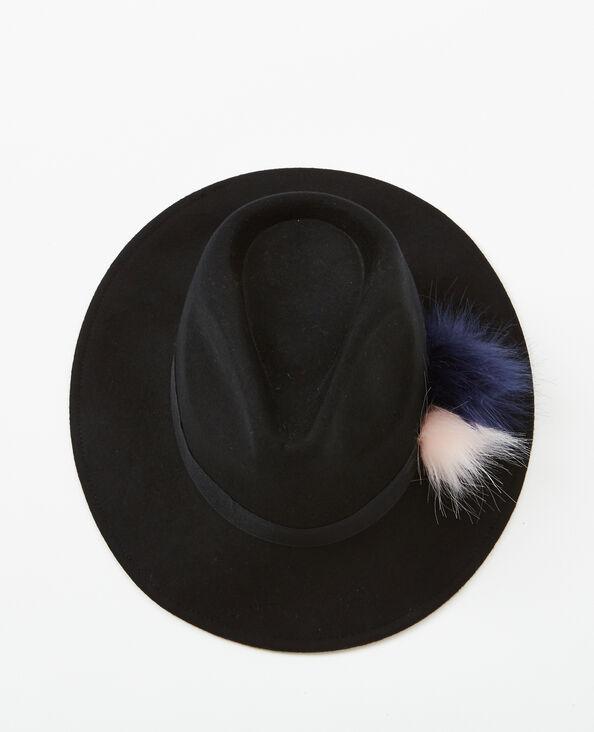 Fedora à pompons noir