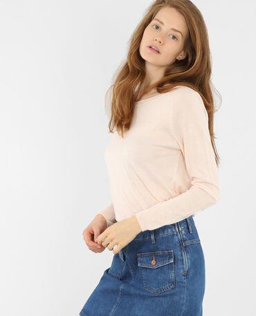 Leichter, einfacher Pullover Zartrosa