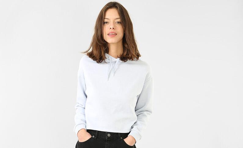 Cropped-Sweatshirt Blau