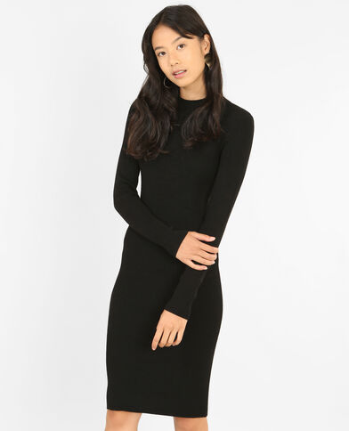 Strakke trui-jurk zwart
