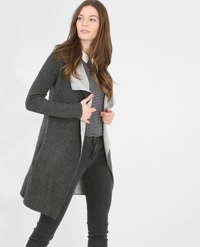 Cardigan con lembi grigio