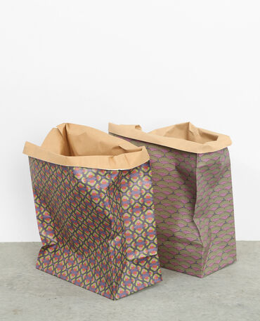 Lot de 2 paper bags à motifs rose