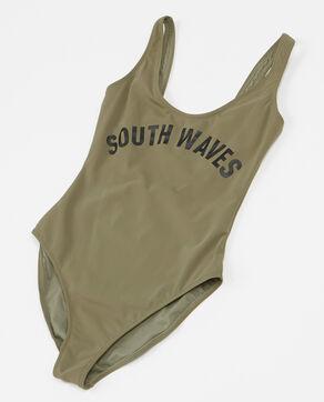 Badeanzug mit Schriftzug Khaki