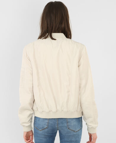 Bomber satinada beige grisáceo