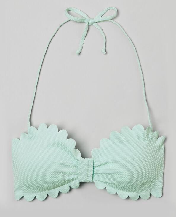 Bandeau-Bikinioberteil mit Blütenmotiv Wassergrün
