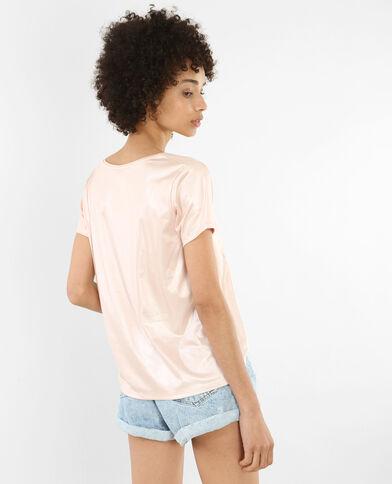T-shirt irisé col croisé rose
