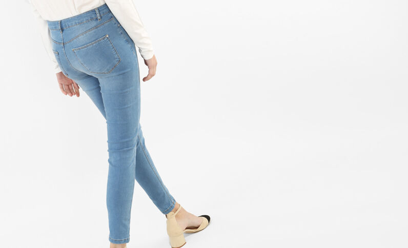 Jeggings a vita alta blu denim