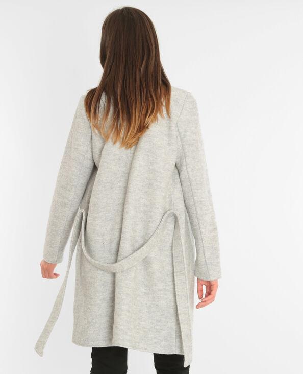 Manteau drap de laine ceinturé gris chiné