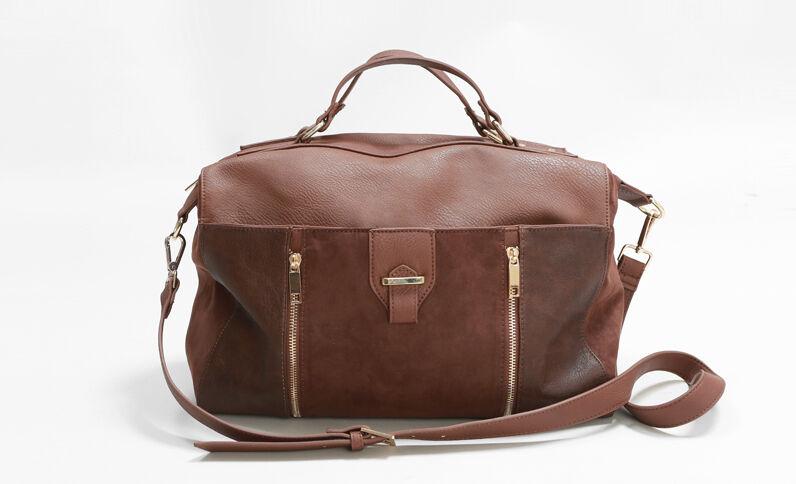 Bolso cabás de dos tejidos marrón