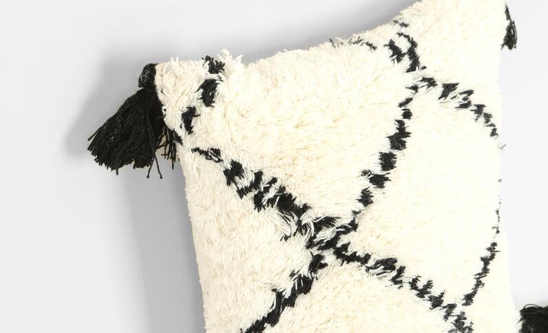 Groot kussen met kwastjes in Berberstijl gebroken wit