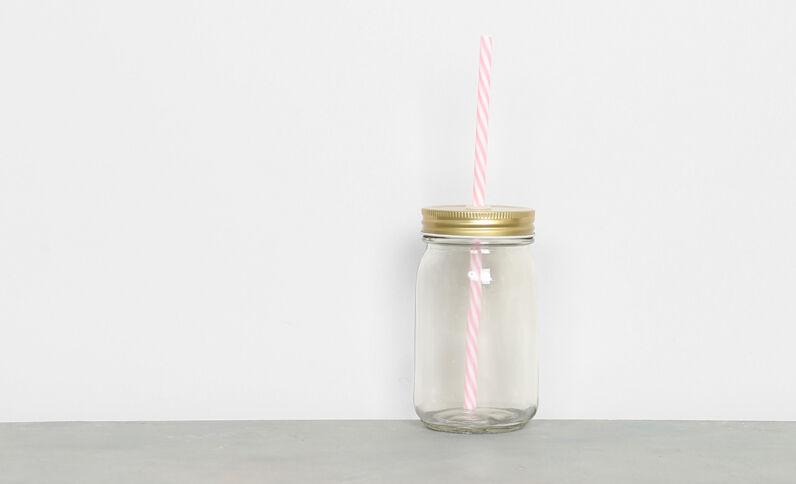 Glasbecher mit Trinkhalm Kupferrot