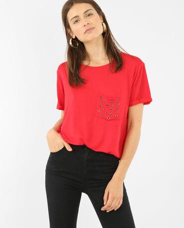 Camiseta oversize con bolsillo remachado rojo