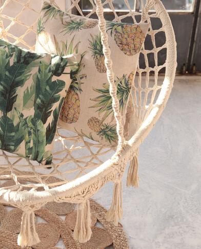 Federa per cuscino in cotone ananas giallo pallido