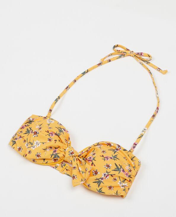 Parte superior de biquini de flores amarillo