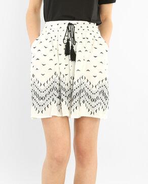 Falda de crespón cinturón pompones blanco