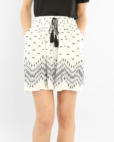 Jupe crépon ceinture pompons blanc