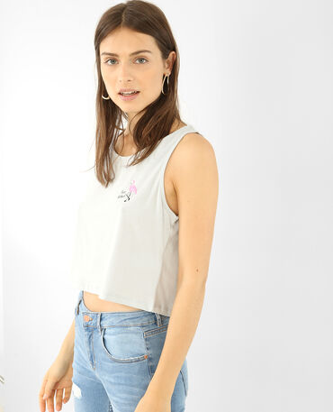 Cropped top imprimé gris