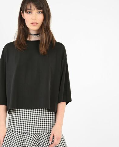 T-Shirt mit überkreuztem Rückenausschnitt. Schwarz