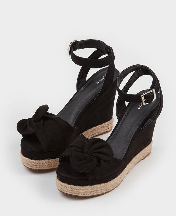 Sandales compensées à nœud noir
