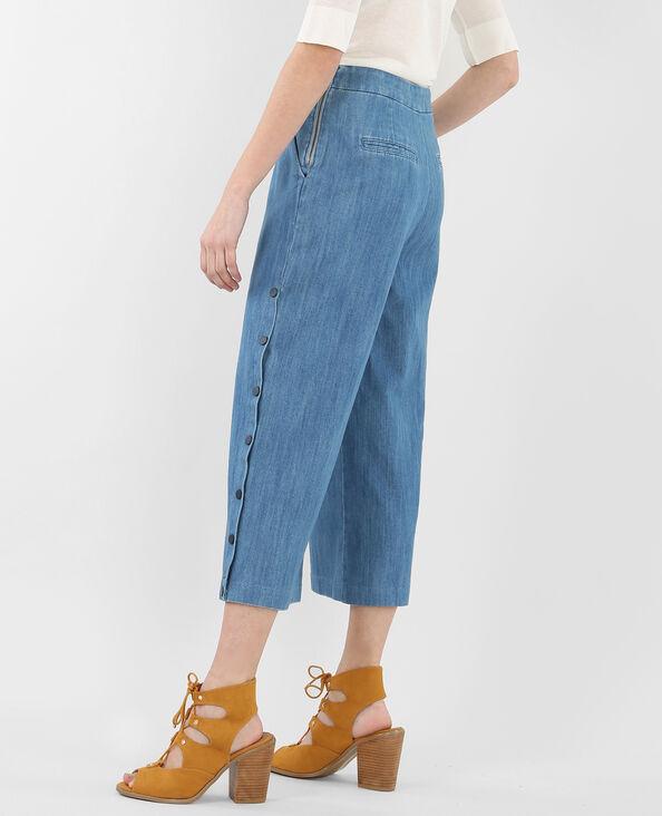 Jupe culotte denim bleu ciel