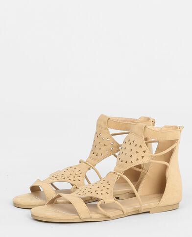 Perforierte flache Sandaletten Taupebeige