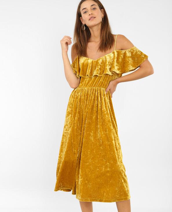 Robe à manches peekaboo jaune moutarde