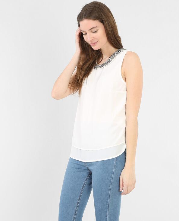 Camicia collo gioiello bianco sporco