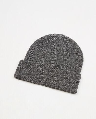 Beanie-Mütze mit Lurex Schwarz