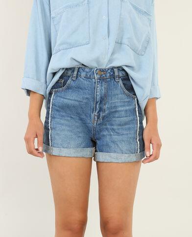 Jeansshort met omslag denimblauw
