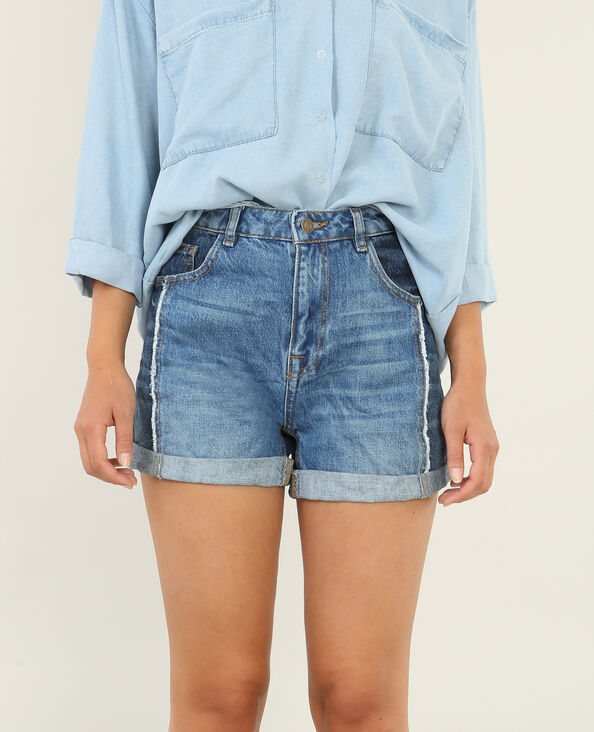 Short en jean à revers bleu denim