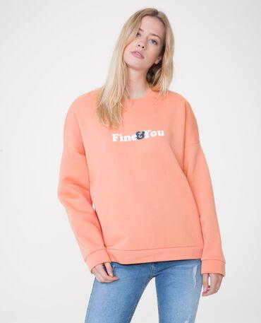 Sweater met opschrift Perzik
